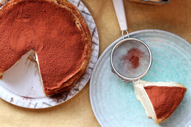 flat lay of Tiramisu Crepe Cake